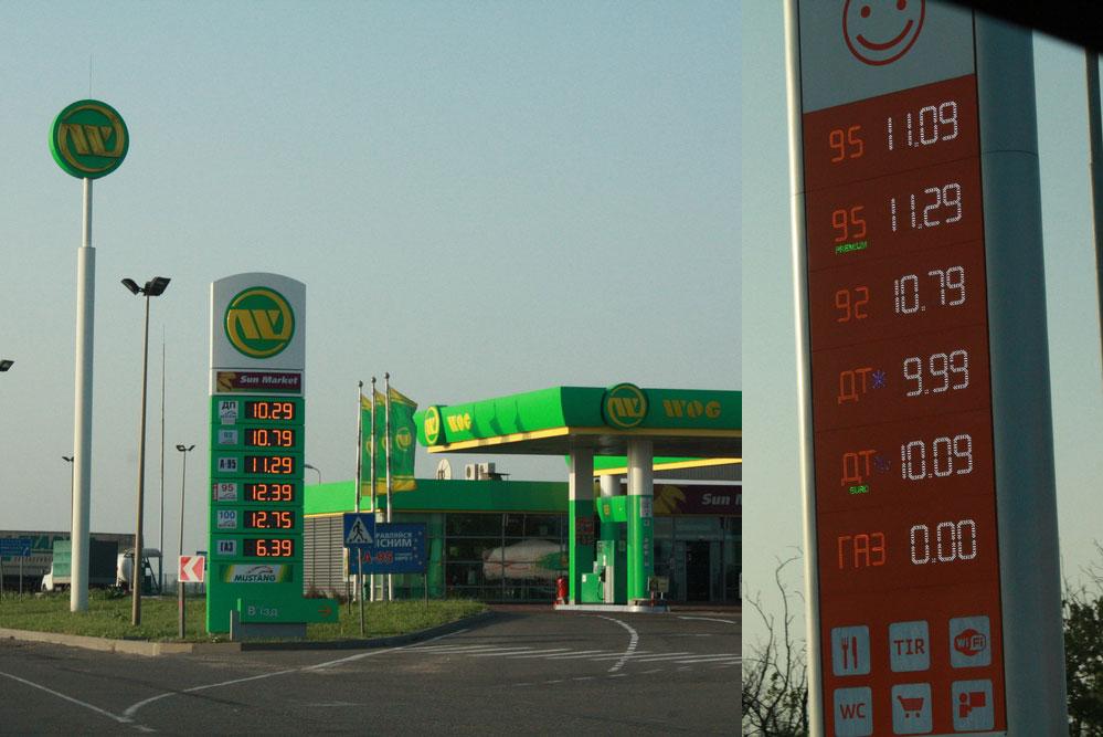 Цены на бензин приблизительно одинаковые