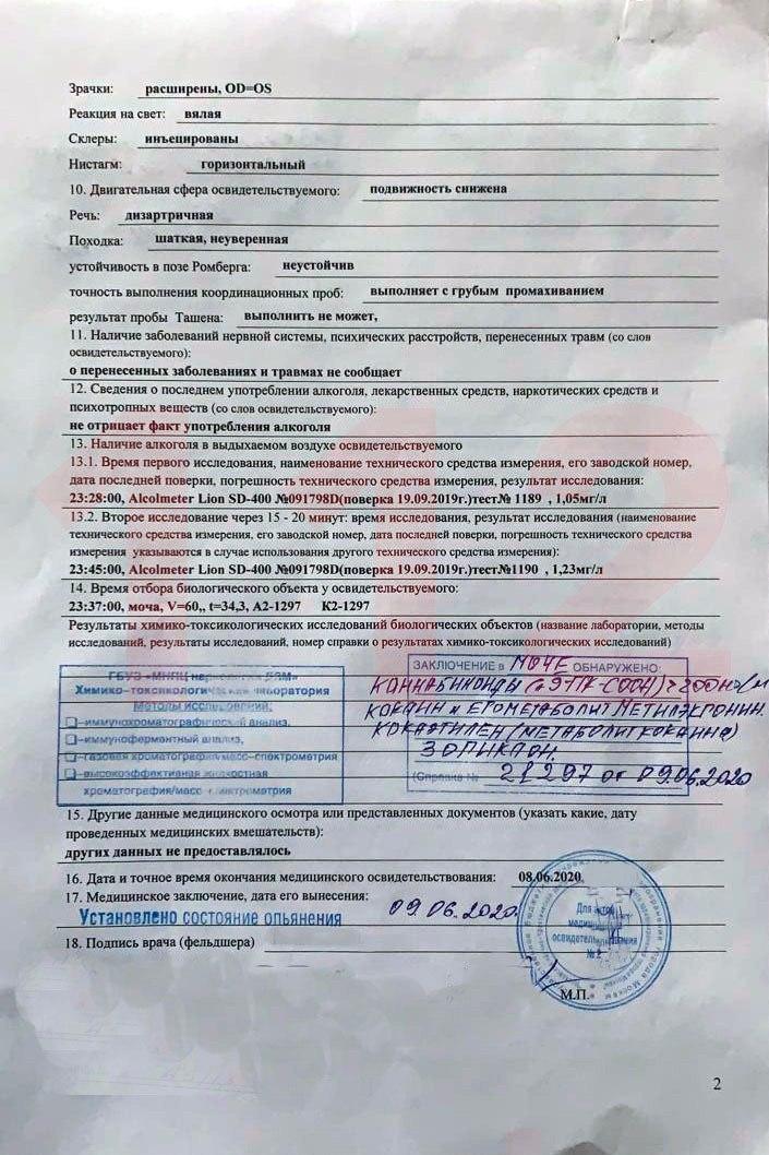 Убийца Ефремов оказался еще и наркоманом: Доказательства