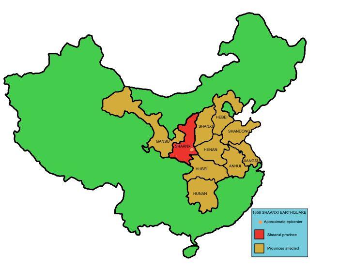 Провинции, пострадавшие при Великом китайском землетрясении