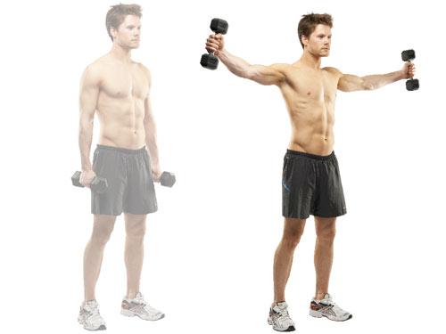 Для прокачки мышц плеч поднимай руки с гантелями