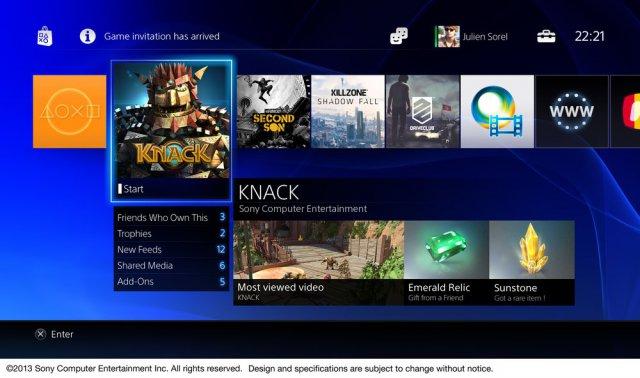 PlayStation 4  - главное меню