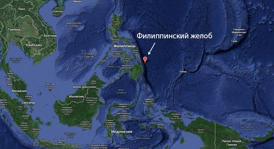 Протяженность Филиппинского желоба — 1320 км