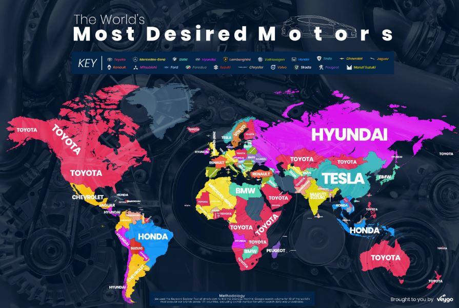 Чаще всего в Google ищут марку авто Toyota