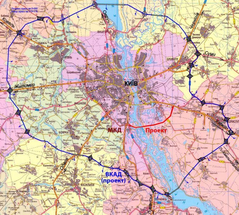 Старый и новый планы окружной дороги