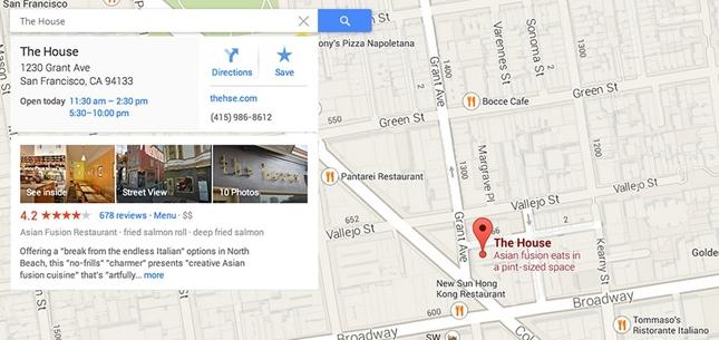 Информация о доме в Google Maps