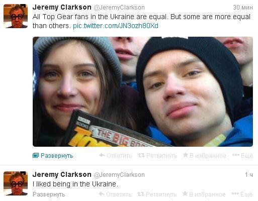 Джереми Кларксону в Украине понравилось. Об этом он написал в Твиттере