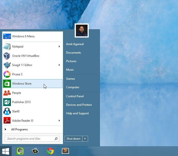 Кнопка Пуск в Windows 8