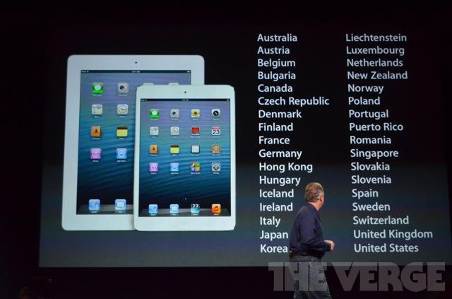 Список стран с официальными продажами iPad Mini