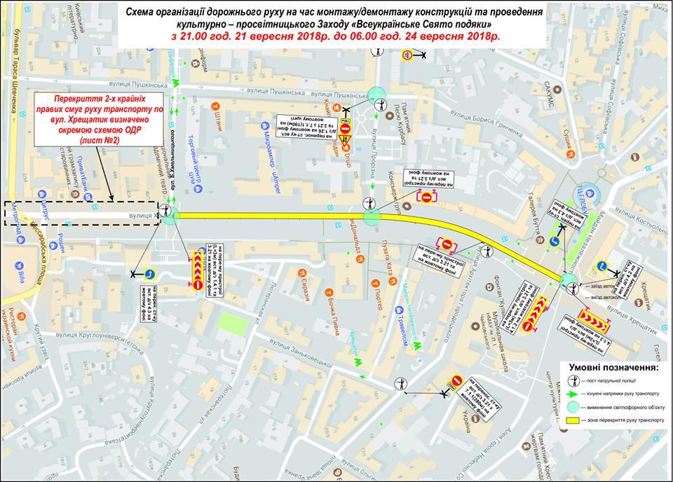 Движение на Крещатике ограничат с улицы Б. Хмельницкого до Майдана