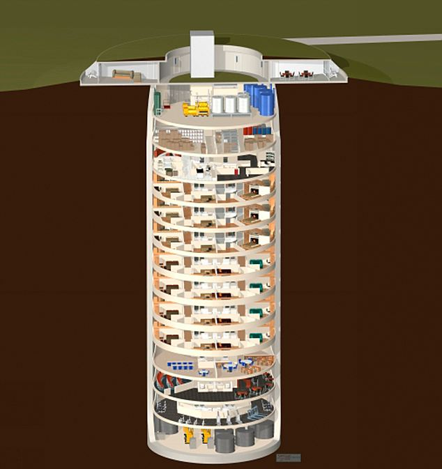 14 этажей самого безопасного дома в мире не только спасут миллионеров от бедствий, но и обеспечат роскошную жизнь под землей (не загробную)