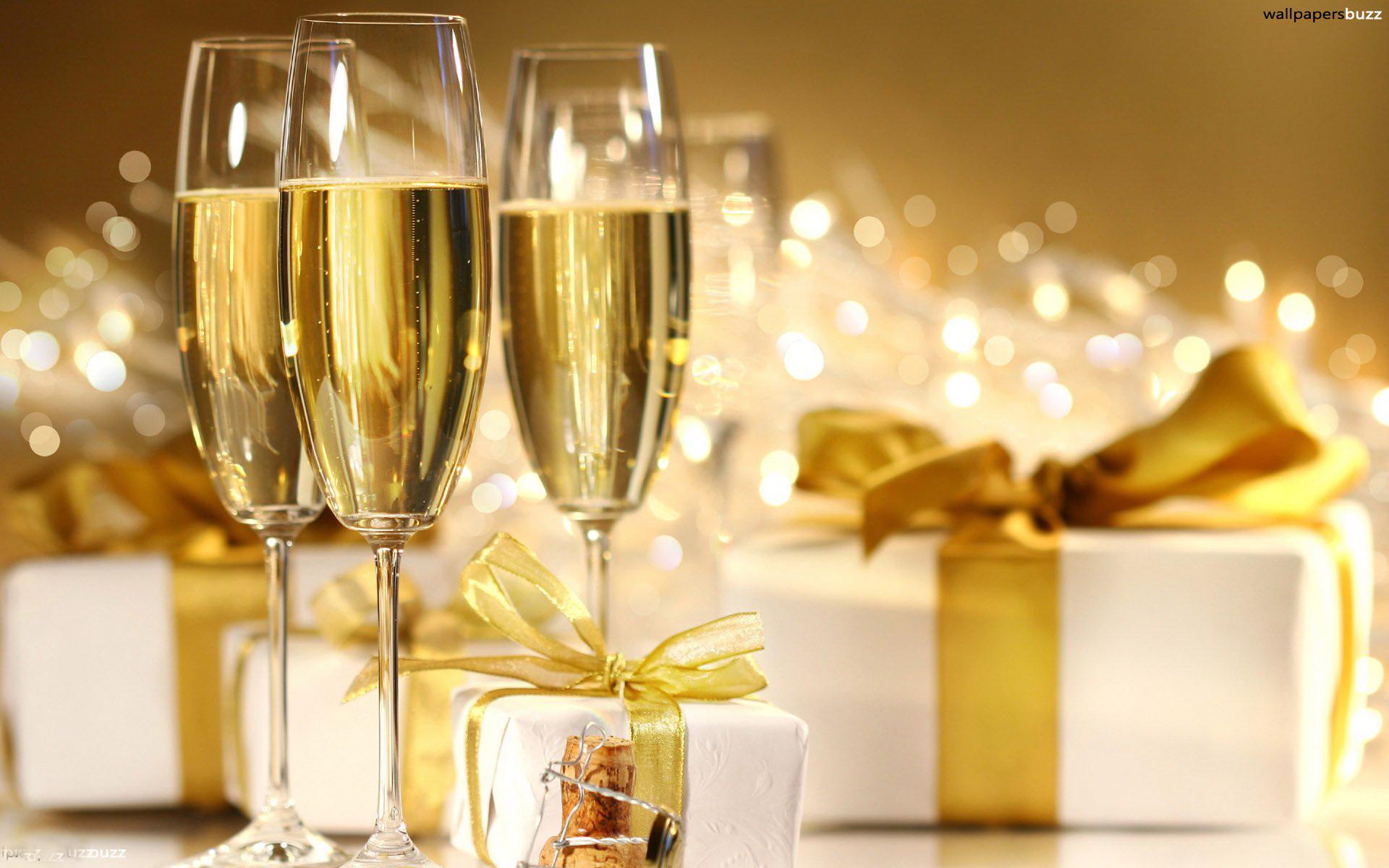 Открытка бокалы шампанского