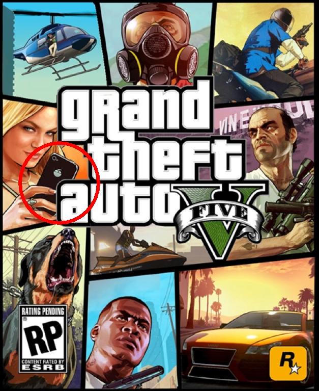 На обложке игры grand theft auto v замечен iphone