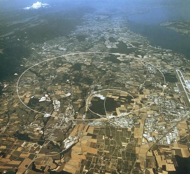 Вид с воздуха с указанием маршрута Большого адронного коллайдера