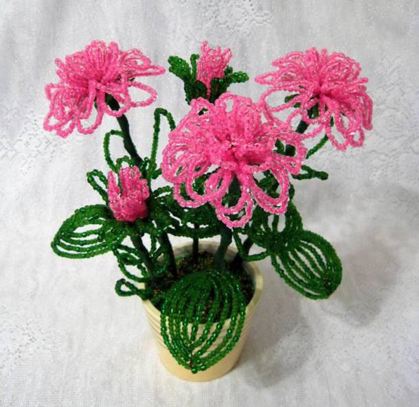 Цветы в горшках из бисера пошаговое