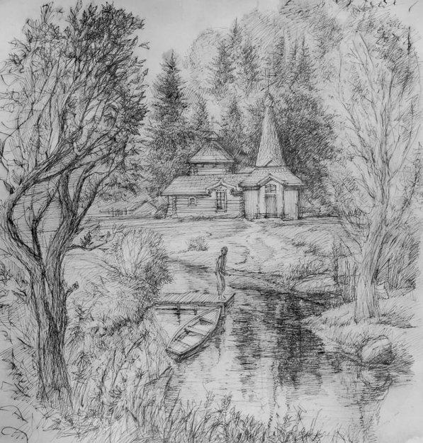 Рисунки выполненные карандашом и тушью.  Графика.  Церковь, пристань, трамвай, собор, парусник, улица, мост, мельница...