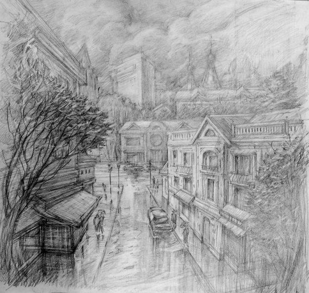 Нарисовать ночной город карандашом