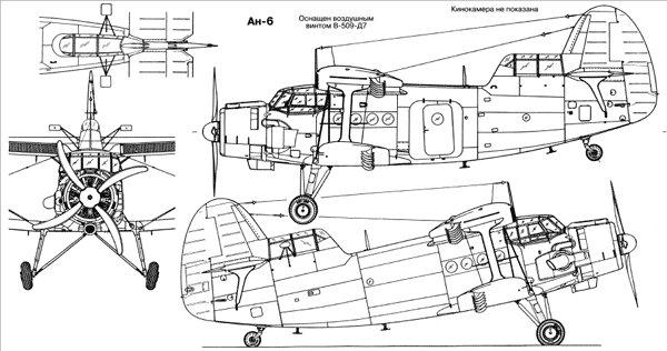 ТТХ АН 6. Здесь вы можете видеть схему-чертеж самолета АН 6. Не показана кинокамера для аэрофотосъемки.