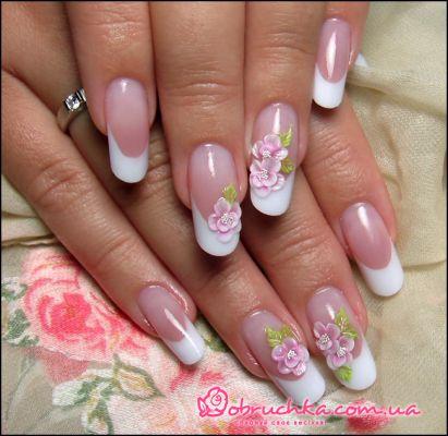 ...рисунки на нарощенных ногтях лето, свадебный френч на