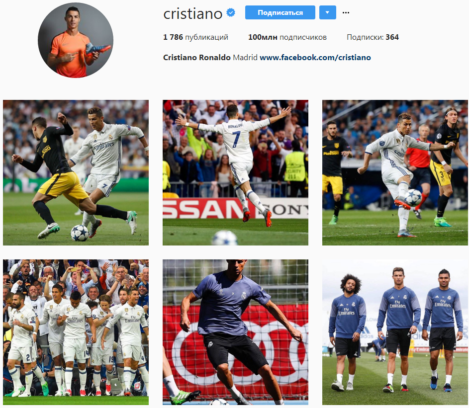 Роналду— 1-ый футболист с100 млн фанатов в социальная сеть Instagram