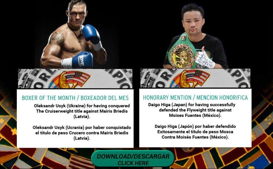 Усик признан боксером месяца поверсии WBC