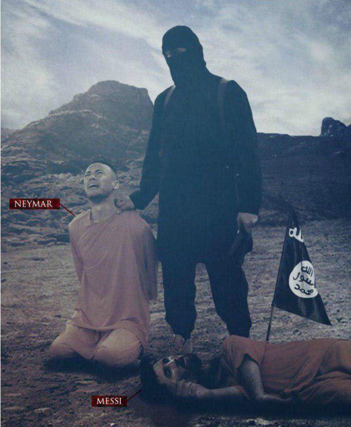 Исламские боевики изэкстремистской группировки выпустили пропагандистские лозунги сугрозой Месси иНеймару