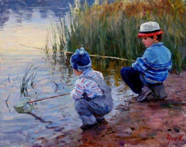 картина мальчика не взяли на рыбалку