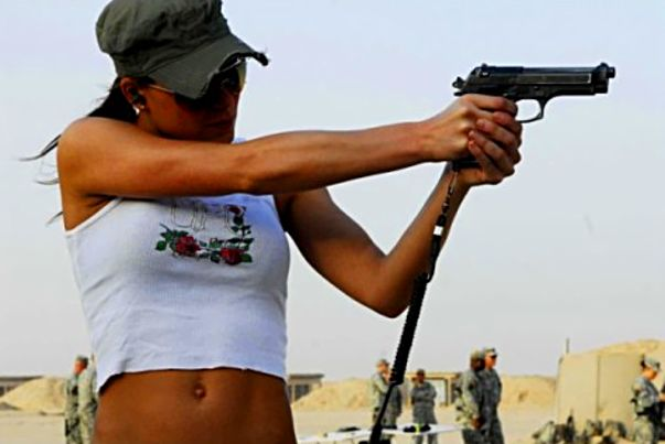 Girls with guns.)