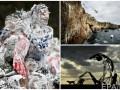 Неделя в фото: студенты в пене, прыжок со скалы и скульптуры у моря