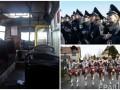 День в фото: пожар в киевской маршрутке, полицейские в Херсоне и парад в Германии