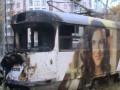 В Харькове трамвай столкнулся с бетономешалкой и загорелся