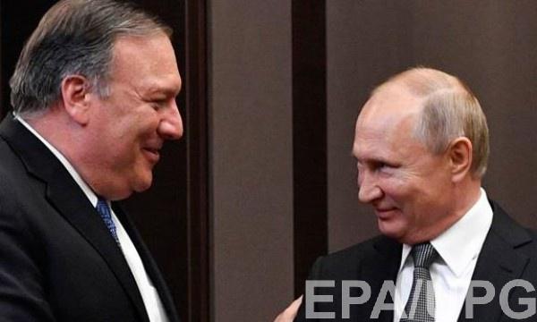 Майк Помпео и Владимир Путин на встрече в Сочи