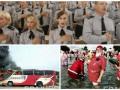 День в фото: хор полицейских, пожар в автобусе и Санта-Клаусы летом