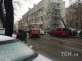 В центре Киева трамвай сошел с рельсов