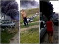 Появилось видео первых минут после крушения Боинга в Украине
