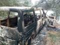 На Волыни контрабандисты в побеге сожгли свою машину с сигаретами