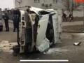 В Киеве произошло серьезное ДТП, перевернулась Газель