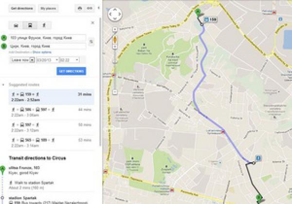карта киева гугл проложить