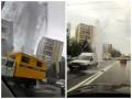 На проспекте Науки посреди дороги бил мощный фонтан