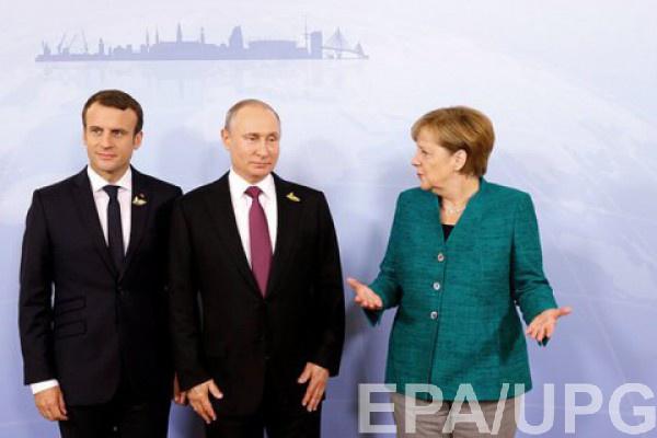 Эммануэль Макрон, Владимир Путин и Ангела Меркель