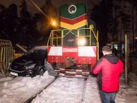 В Киеве поезд протаранил Honda