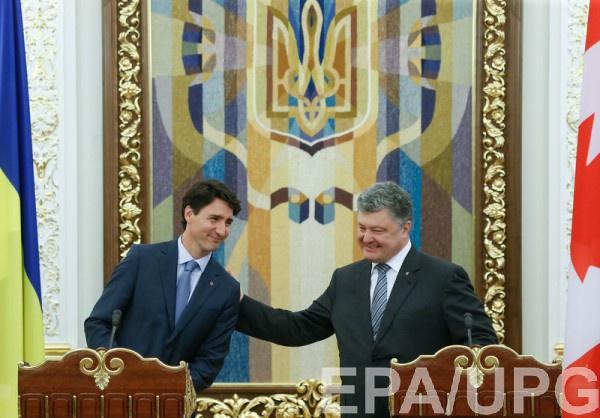 Премьер-министр Канады Джастин Трюдо и Петр Порошенко