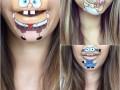 Губка Боб и Симпсоны: девушка превращает свои губы в героев мультфильмов
