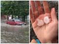 Харьков засыпало крупным градом и залило дождем