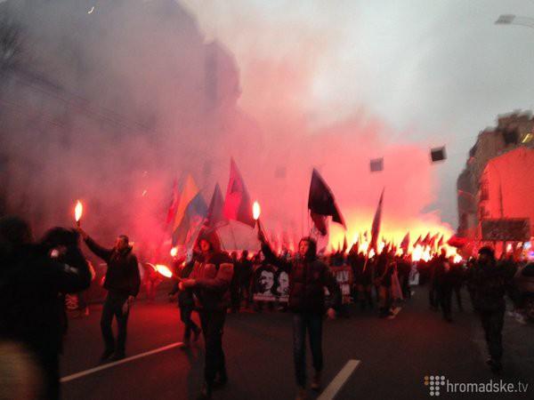 Активисты, вышедшие вподдержку обвиняемых вубийстве Бузины, двинулись кпрокуратуре столицы Украины