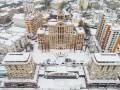Заснеженный Киев показали с высоты птичьего полета
