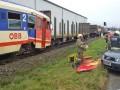 В Австрии электричка столкнулась с товарным вагонами