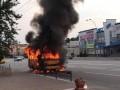 Под Киевом на ходу загорелась маршрутка с пассажирами