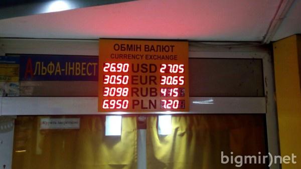 В обменниках утром в среду, 27 февраля, доллар можно купить в среднем по 27.05 грн