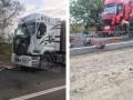 Под Николаевом столкнулись пять грузовиков