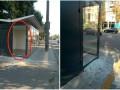 В Киеве вандалы разбили общественную остановку и троллейбус